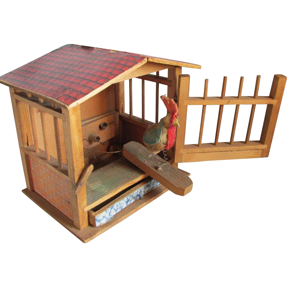 c1900 Rooster in Cage Pip Squeak Toy, Penny Toy