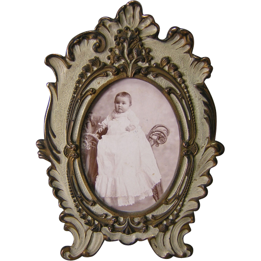Pretty Antique French Rococo Picture Frame in Original Paint