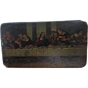 Antique Paper Mache Snuff Box, The Last Supper