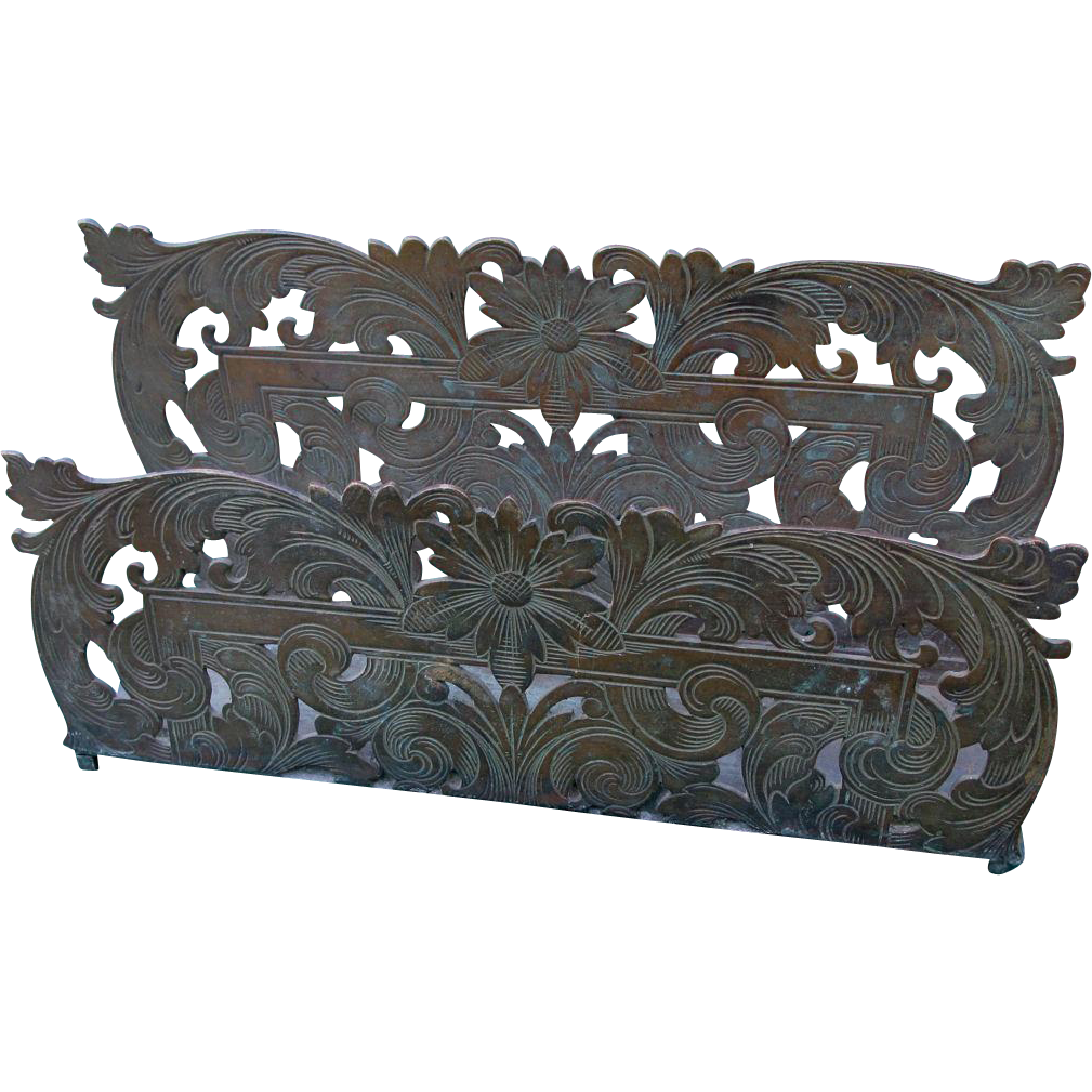 Antique Engraved Bronze Art Nouveau Letter Holder