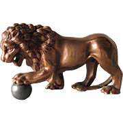 c1920s Lion Paperweight, Metal Sculpture, Figurine