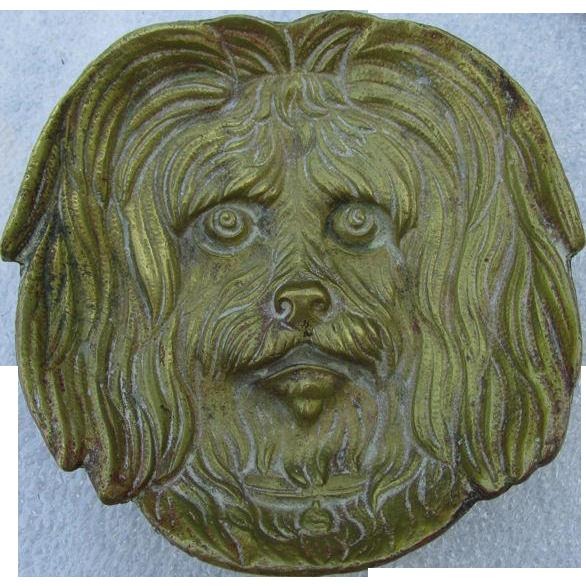 Antique Figural Bronze Dog, Desk, Vanity Tray