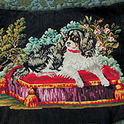 Antique Petit Point Tapestry of King Charles Spaniel Dog
