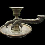 Antique Victorian Gothic Bird Claw Candlestick, Chamberstick