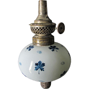 19thC Bougeoir Peg Lamp with Blue Enamel Flowers