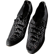c1890s Victorian Button Up Shoes with Jet Beads