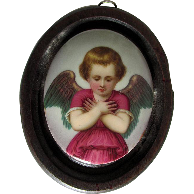 19thC Hand Painted Porcelain Miniature Cherub Angel Plaque