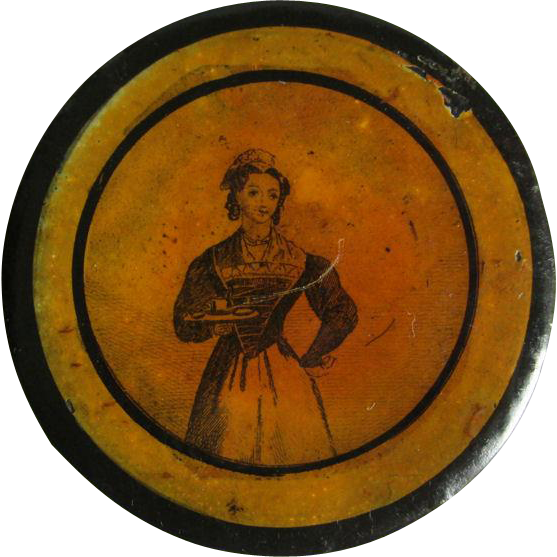 c1830s Paper Mache Snuff Box Maid Serving Tea
