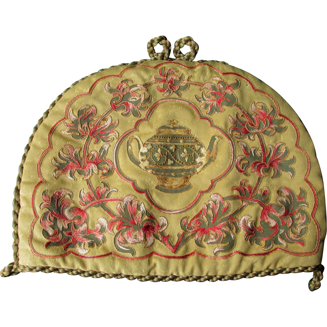 19thC Wool, Silk, Velvet Embroidered Tea Cozy with Gold Boulle Trim