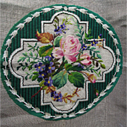 Antique Beaded Tapestry of Pink Roses & Pansy Flowers
