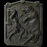 Antique Cast Iron German Plaque, Bear Hunters