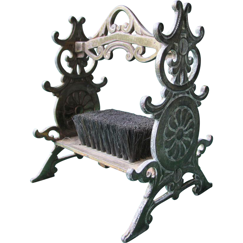 19thC Cast Iron Pen Stand, Pen Display with Pen Wipe