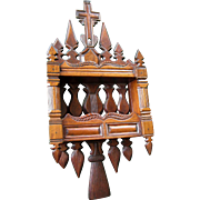 19thC Hand Carved Ecclesiastical Shelf with Cross