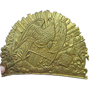 Antique Patriotic Military Brass Plaque, Emblem
