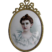 Lovely Hand Painted Miniature Porcelain Plaque of a Lady