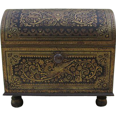 c1929 Miniature Barcelona Damascene Jewelry Box