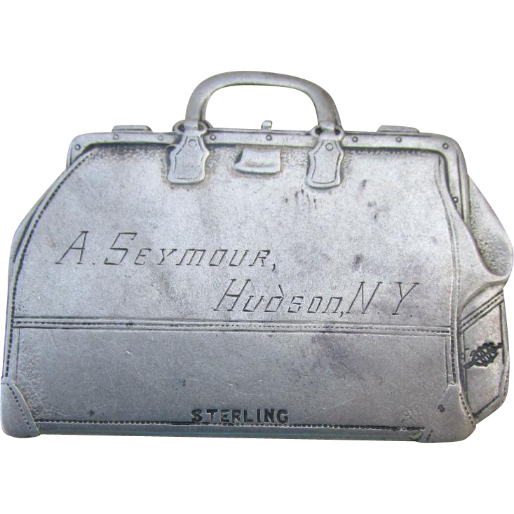 Antique Sterling Silver Suitcase Shaped Luggage Tag