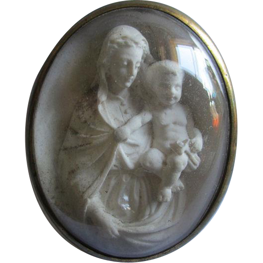 19thC French Devotional Shadowbox Madonna & Child