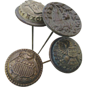4 Antique Victorian Hatpins, Military Buttons, Cornucopia