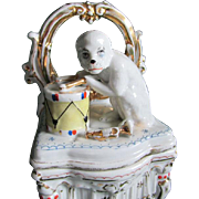 19thC Staffordshire Fairing Box Monkey Playing a Drum