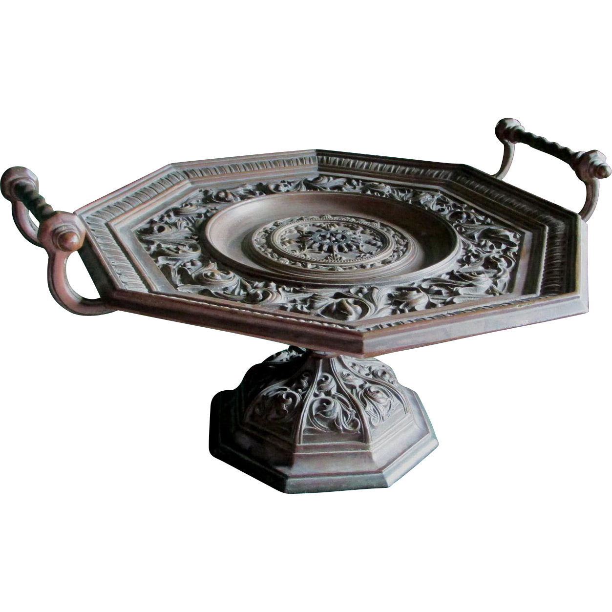 c1870s Bronze Gothic Tazza, Comport, Calling Card Receiver