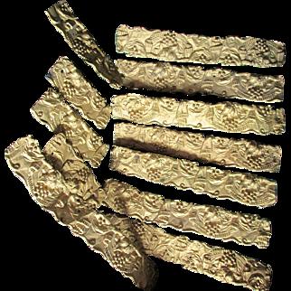 19thC Gilt Brass Architectural Trim, Moldings Grape & Drapery Motif