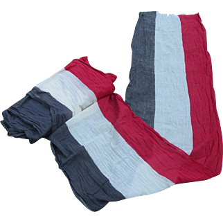 14 1/2 + Yards Antique Patriotic Bunting Red, White, Blue