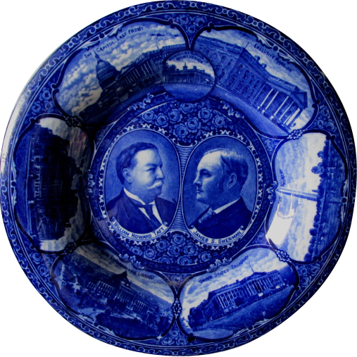 c1908 Taft Sherman US Political Campaign Plate, Flow Blue