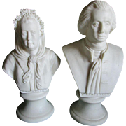 19thC George & Martha Washington Parian Busts