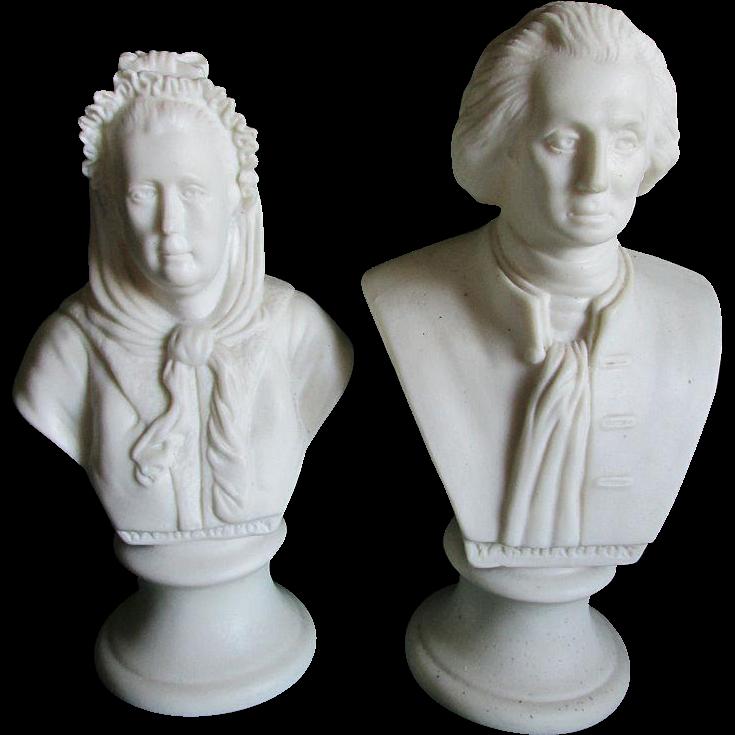 19thC George & Martha Washington Parian Busts