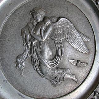 Antique Cast Iron Plaque,Angel Holding Babies & Owl