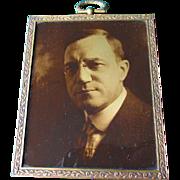 Antique Gold Orotone Photograph, Portrait of a Gentleman