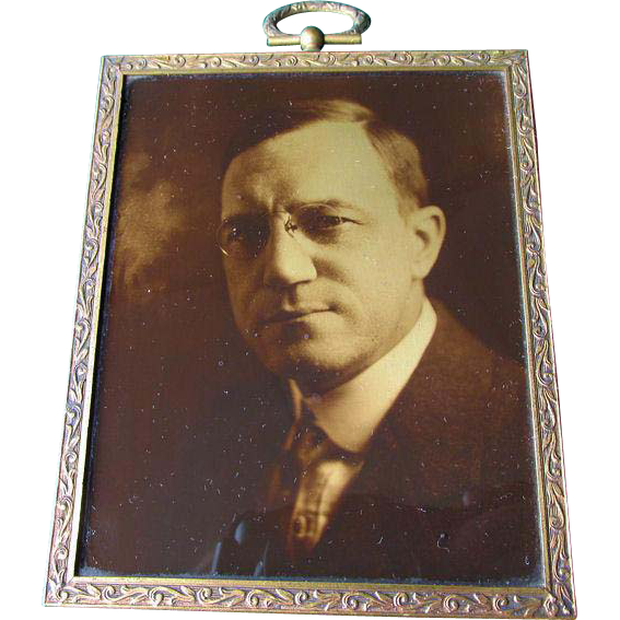 Antique Gold Orotone Photograph, Portrait of a Gentleman