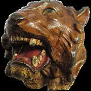 Antique Tiger, Lion Match Safe in Original Paint