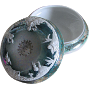 Antique Porcelain Vanity, Powder Box with Mermaids, Mermen