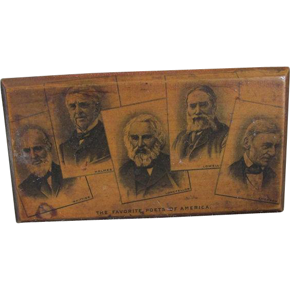 19thC Mauchline, Favorite Poets of America, Wood Box
