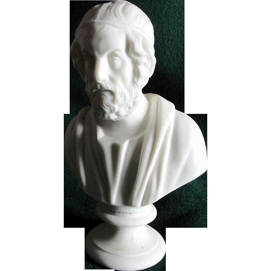 Antique Parian Porcelain Bust of Homer, J & T R