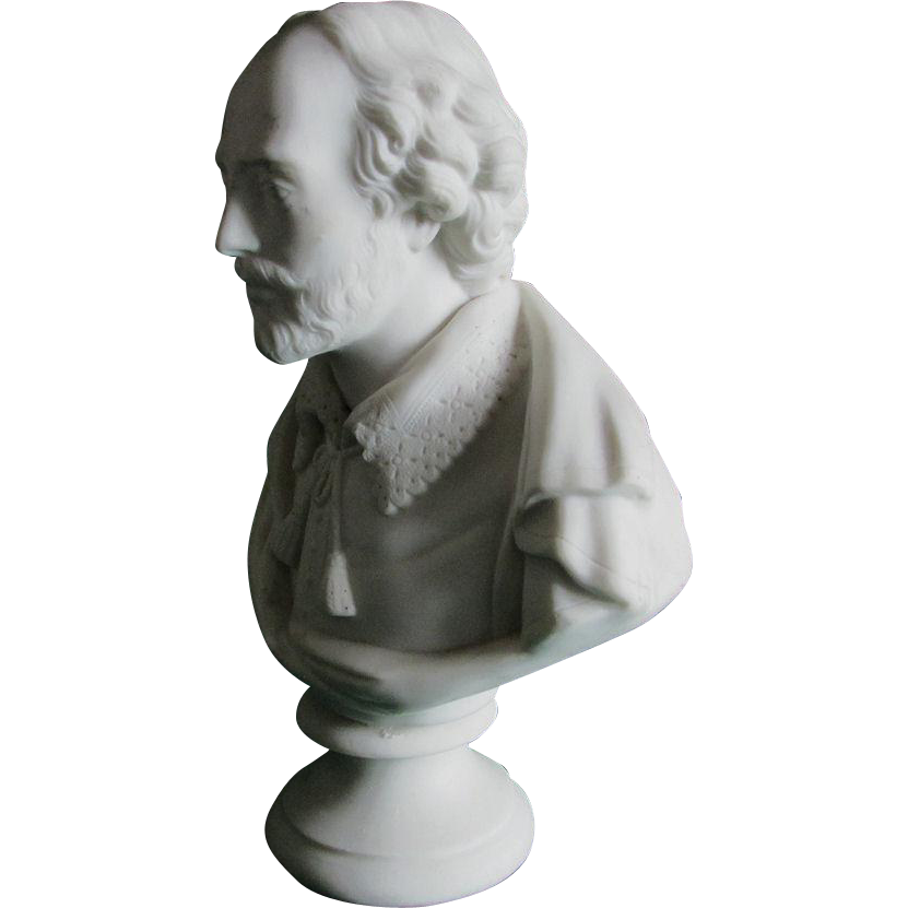 Antique Parian Porcelain Bust of William Shakespeare, J & T R