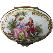 Antique French or German Porcelain Snuff Box,  Patch Box, Signed
