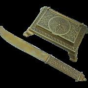 Antique Aesthetic Letter Opener & Stamp Box, Desk Accessories