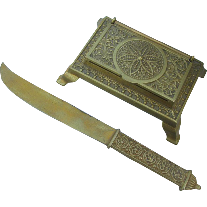 Antique Aesthetic Letter Opener & Stamp Box, Desk Accessories