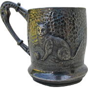 Late 1800s Silverplate Childs Cup with Cat or Kitten by Meriden
