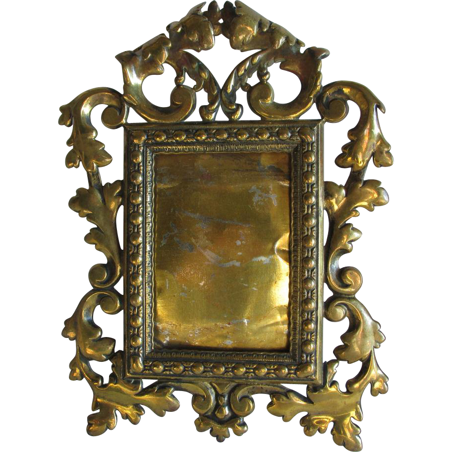 Antique French Rococo Mirror Picture Frame with Scrolls