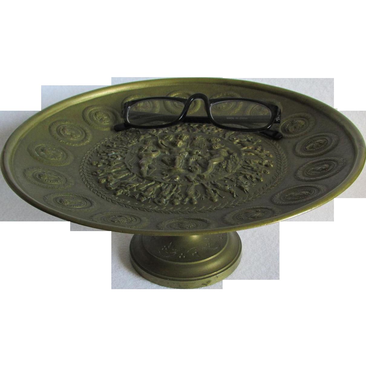 19thC Bronze Comport, Calling Card Receiver Mythology Motif