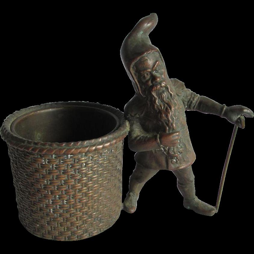 Antique c1880s Gnome or Elf Cigar Holder, Match Safe Desk Caddy