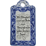 Antique German Porcelain Flow Blue Cutting Board