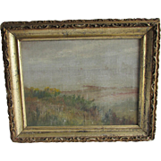 Antique Impressionistic Oil Painting, Seaside Landscape, Sailboats