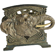 Antique Art Nouveau Elephant Letter Holder, Desk Accessory