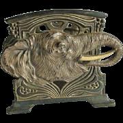 Antique Art Nouveau Elephant Letter Holder, Desk Accessory