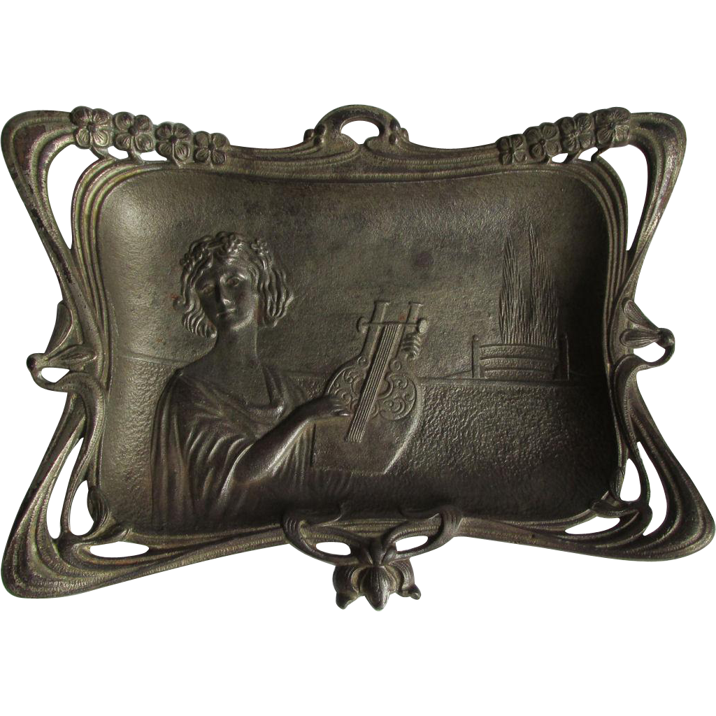 Antique Art Nouveau Vanity Tray, Lady with Lyre,  Calling Card Receiver